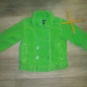 GAP girls green corduroy jacket 18-24mo